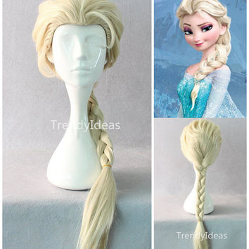 Popular Frozen Handmade Gold Princess Elsa Long Cosplay Wig Hair Wig