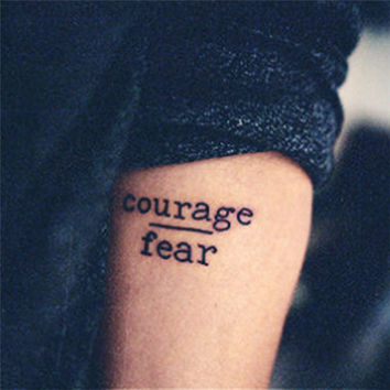 TOMTOSH Waterproof Temporary Tattoo Stickers Courage Fear Heart Mind Letters Design Water Transfer Tattoo Harajuku Fake Tattoo