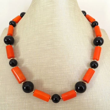 Coral necklace, orange statement necklace, uk gemstone necklace, black onyx necklace, raw stone jewelry, coral bamboo jewels