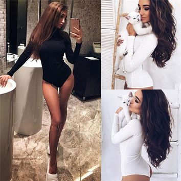 Fashion summer jumpsuit woman 2018 High Collar  Knitting Pits Long Sleeves Pure Color sexy Jumpsuits pantaloni siamesi Y26#N
