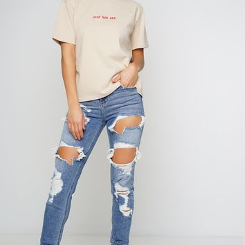 Graduate High Rise Distressed Jeans - Medium Denim