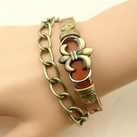 Retro Coppery-tone Metal Detail Leather Bracelet - Oasap High Street Fashion
