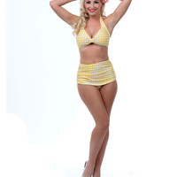 1950s Style Yellow & White Gingham Two Piece Swimsuit