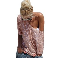 Women Sexy Loose Off Shoulder Sequin Glitter Blouses Summer Casual Shirts Vintage Streetwear Party Tops