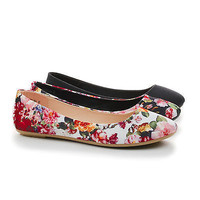 Standouts36A White Floral Fabric By Bamboo, Round Toe Ballet Slip On Dress Flats