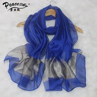 Spring Summer New Mujeres Bufanda Chal White And Blue Chinese Women's Silk Scarf Chiffon Shawl Elegant Scarves Size 70 X 190cm