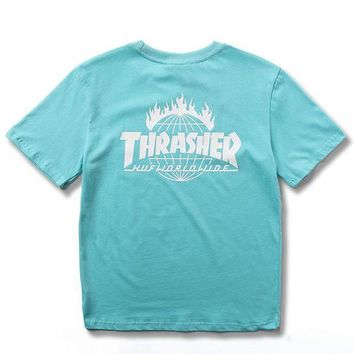 Thrasher Trending Casual Women Men Fashion Casual Shirt Top Tee Blue G