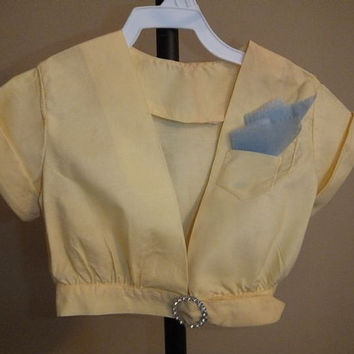 Vintage 40s Crop Top / Yellow Blouse / Swag / Shirt / Hankie / Rhinestones