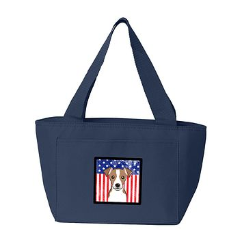 American Flag and Jack Russell Terrier Lunch Bag BB2190NA-8808