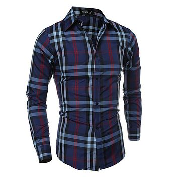 Men Casual Slim Long Sleeve Plaid Classics Shirt [6544498883]