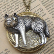 Steampunk Wolf Disc Locket Necklace Vintage Style by sallydesign