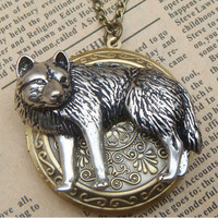 Steampunk Wolf Disc Locket Necklace Vintage Style Original Design