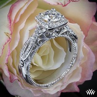 Verragio 4 Prong Cushion Halo Diamond Engagement Ring | 38101