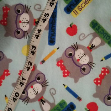 Kids Flannel fabric with cats school teacher supplies class cotton print quilt sewing material sew crafting project BTY 1yd by the yard