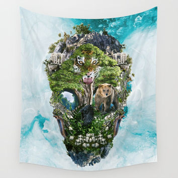 Skull Nature III Wall Tapestry by RIZA PEKER
