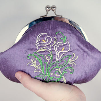 Lavender purple silk clutch purse wristlet with embroidered ivory calla lily, personalized stamped charm