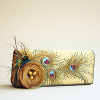 Peacock Feathers Hand Painted Gold Clutch, Wedding Clutch, Special Ocasion Clutch OOAK