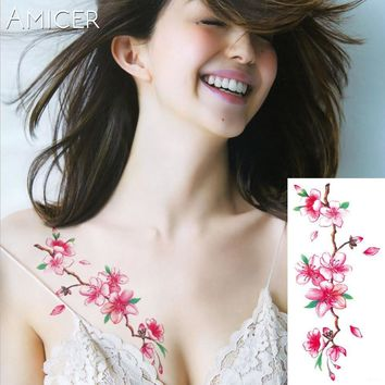 Tattoo Sticker 3D  blossoms rose big flowers  Waterproof Temporary