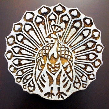 Art Nouveau Dancing Peacock Hand Carved Indian Wood Block Stamp