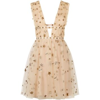 Valentino Star-Embroidered Tulle Mini Dress Beige | Harrods