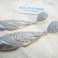 Tear Drop Dangle Earrings Rhinestone Jewelry Fashion Accessories For Her Silver Tone Pave'