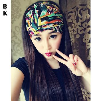 100% Handmade Summer Women Headband Boho Wide Beach Headwear Yoga Turban Floral Bandana Headwrap Kerchief Party Hairbands Bows