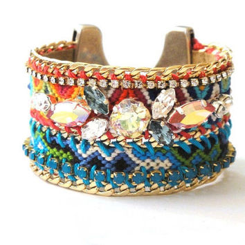 OOAKjewelz luxury line - Ibiza chic friendship bracelet cuff with handembroidered Swarovski chrystals and gold plated curb chain