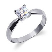 BDRS001 Sterling Silver Princess Cut Clear CZ Solitaire Ring