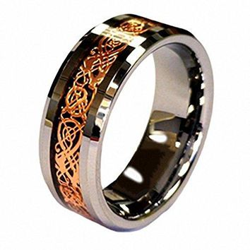 18K Rose Gold Plated Celtic Dragon 8mm Tungsten Carbide Wedding Band Ring Size 613 Half Size