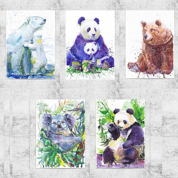 ACEO  Art Prints, wild animals, watercolor, ATC, Artist Trading Cards, Giclee, Set of 5 Signed, bear