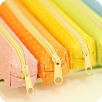 Candy Color Pencil Case Dot  Pen Bag Stationery Pouch Office School Supplies HU