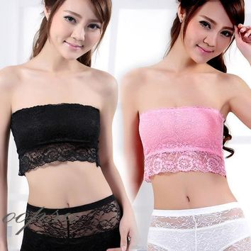 CREYHY3 Black White Pink Womens Girl Lady Tank Top Camisole Tube Soft Lace Strap Strapless Crochet Crop Bra Sexy Inner Wear B011