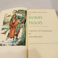 Vintage Book Children's Book The Merry Adventures of Robin Hood of Great Renown in Nottinghamshire Written & Illustrated by Howard Pyle 50s
