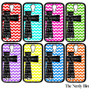 Chevron and Cross Bible Quote Plastic or Rubber Samsung Galaxy S4 Case