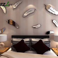 Hot 8pcs/set Light Feather Wall Stickers Home Decor Living Room Silver Color Fashion Room Decoration Wall Sticker ZH01589