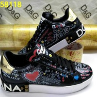 D&G Dolce & Gabbana Men's Women's  Leather Fashion Sneakers Shoes size 36-45