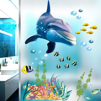 bathroom kitchen wall sticker home decor stickers dolphin fish aquarium ocean decorative decal mural carton kids room