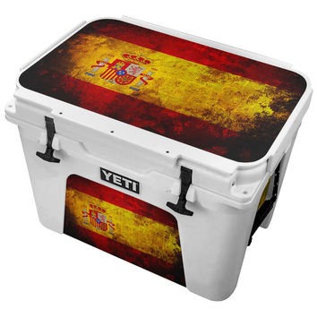 Flag Of Spain Splattered With Black Paint Skin for the Yeti Tundra Cooler