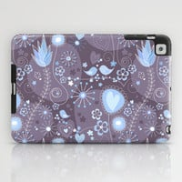 Whimsical garden in grey and blue iPad Case by Silvianna