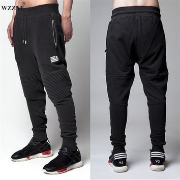WZZAE 2017 New Fashion Biker Joggers Slim Fit Skinny Sweatpants Harem Pants Men Hip Hop Swag Clothes Clothing High Street Black