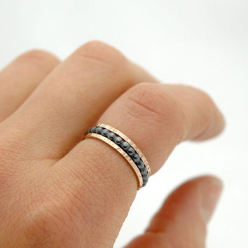 Oxidized Sterling Silver Stack Bead Ring and 14k Rose Gold Filled Skinny Ring Set of 3 - Beaded Wire Ring Above Knuckle Ring - Dots Ring