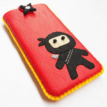 leather felt iphone, ipod sleeve, pouch, cover, case - available custom made in any other size of phone