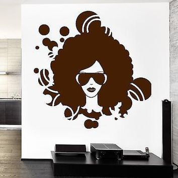Wall Vinyl Music Black Afro American Girl Disco Guaranteed Quality Decal Unique Gift (z3552)