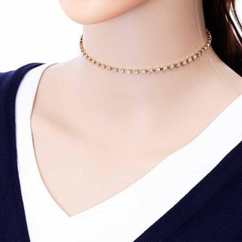 Women single Row Full Crystal Wedding Party Prom Long Necklace Sexy Gold Rhinestone Statement Chocker
