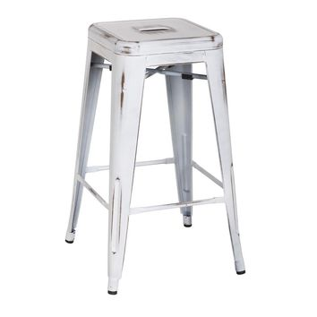 Oxford Metal Counter Stool- Set of 4 DISTRESSED WHITE