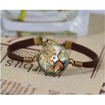 White Rabbit bracelet Alice Jewelry Wonderland bracelet Cabochon Glass Gift Oilpainting White Rabbit bracelets Bangle