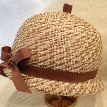Vintage 50s 60s Brown and White Striped Straw Hat