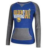 Golden State Warriors adidas Women's Shrinking Type Pullover Crew Sweatshirt – Royal Blue
