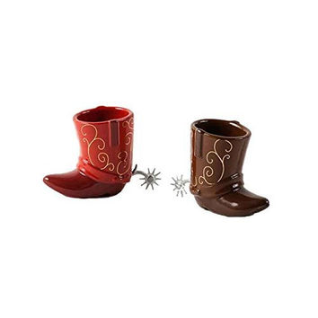 Ceramic Cowboy Boots Shot Glasses