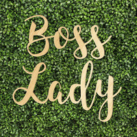 Boss Lady Woman Trendy White Gray Marble Printed Calligraphy Custom Wood Sign
